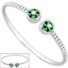 Natural white topaz 925 sterling silver flower bangle jewelry h47961