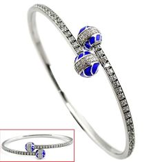 Natural white topaz enamel 925 sterling silver adjustable bangle jewelry h47979