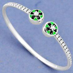 NATURAL WHITE TOPAZ GREEN BLACK ENAMEL 925 SILVER ADJUSTABLE BANGLE H30881