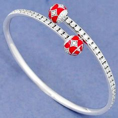 NATURAL WHITE TOPAZ ROUND 925 STERLING SILVER ADJUSTABLE BANGLE JEWELRY H30883