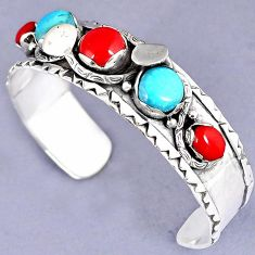 RED CORAL SLEEPING BEAUTY TURQUOISE 925 STERLING SILVER BANGLE JEWELRY G95914