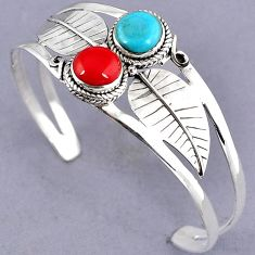 RED CORAL SLEEPING BEAUTY TURQUOISE 925 STERLING SILVER BANGLE JEWELRY G95934