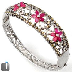 RED RUBY QUARTZ MARCASITE FLOWER 925 STERLING SILVER BANGLE JEWELRY G36857