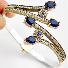 15.24cts TURKISH BLUE SAPPHIRE 925 SILVER TWO TONE ADJUSTABLE BANGLE F34869