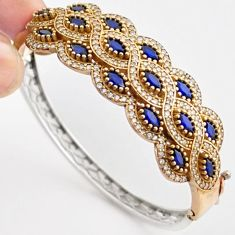 17.25cts TURKISH BLUE SAPPHIRE QUARTZ TOPAZ 925 SILVER TWO TONE BANGLE F34866