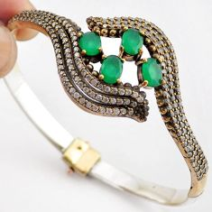 14.52cts TURKISH GREEN EMERALD 925 SILVER TWO TONE ADJUSTABLE BANGLE F34868