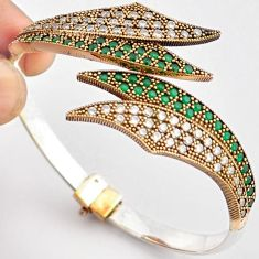10.65cts TURKISH GREEN EMERALD 925 SILVER TWO TONE ADJUSTABLE BANGLE F34870