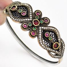 9.35cts TURKISH NATURAL PINK RUBY QUARTZ 925 SILVER TWO TONE BANGLE F34862