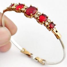 14.67cts TURKISH NATURAL PINK RUBY QUARTZ 925 SILVER TWO TONE BANGLE F34879