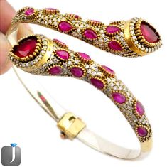 28.67cts TURKISH RED RUBY QUARTZ 925 SILVER TWO TONE ADJUSTABLE BANGLE F42878