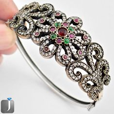 15.16cts TURKISH RED RUBY QUARTZ 925 SILVER TWO TONE BANGLE JEWELRY F38861