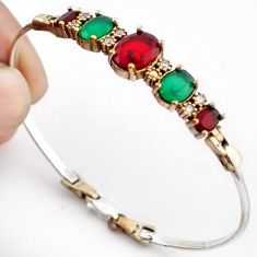 15.06cts TURKISH RED RUBY QUARTZ EMERALD 925 SILVER TWO TONE BANGLE F34880