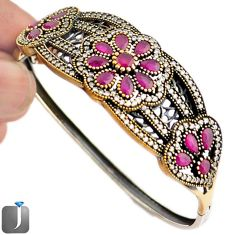 15.14cts TURKISH RED RUBY QUARTZ TOPAZ 925 SILVER TWO TONE BANGLE F42872
