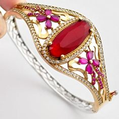 21.36cts TURKISH RED RUBY QUARTZ TOPAZ 925 SILVER TWO TONE BANGLE JEWELRY F34865