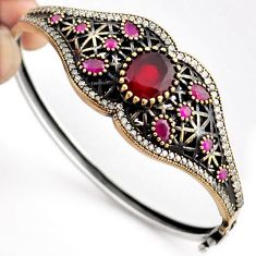 15.86cts TURKISH RED RUBY QUARTZ TOPAZ 925 SILVER TWO TONE BANGLE JEWELRY F34872