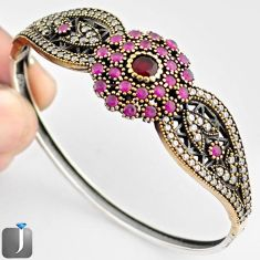 10.14cts TURKISH RED RUBY QUARTZ TOPAZ 925 SILVER TWO TONE BANGLE JEWELRY F38865