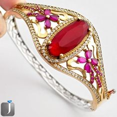 19.95cts TURKISH RED RUBY QUARTZ TOPAZ 925 SILVER TWO TONE BANGLE JEWELRY F38868