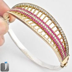10.16cts TURKISH RED RUBY QUARTZ TOPAZ 925 SILVER TWO TONE BANGLE JEWELRY F38872