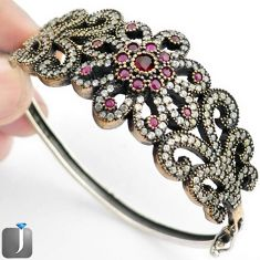 15.59cts TURKISH RED RUBY QUARTZ TOPAZ 925 SILVER TWO TONE BANGLE JEWELRY F38878