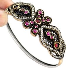 9.41cts TURKISH RED RUBY QUARTZ TOPAZ 925 STERLING SILVER TWO TONE BANGLE F34863