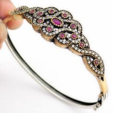 7.84cts TURKISH RED RUBY QUARTZ TOPAZ 925 STERLING SILVER TWO TONE BANGLE F34874