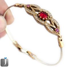 5.93cts TURKISH RED RUBY QUARTZ TOPAZ 925 STERLING SILVER TWO TONE BANGLE F38880