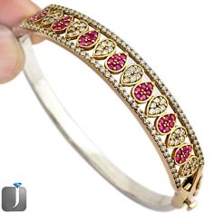 9.86cts TURKISH RED RUBY QUARTZ TOPAZ 925 STERLING SILVER TWO TONE BANGLE F42862