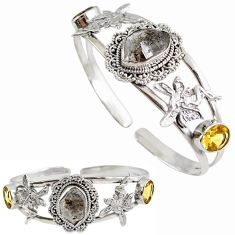 White herkimer diamond citrine 925 silver angel wings adjustable bangle h89231