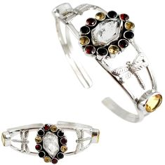 White herkimer diamond citrine 925 silver dragonfly adjustable bangle h89232