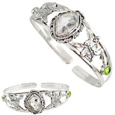 White herkimer diamond peridot 925 silver angel wings adjustable bangle h89221