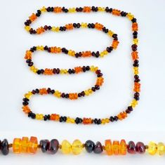 925 silver 47.12cts natural baltic amber (poland) fancy beads necklace c3249