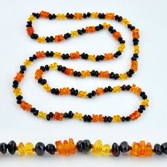 925 silver 46.17cts natural baltic amber (poland) fancy beads necklace c3289