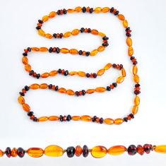 925 sterling silver 39.91cts natural baltic amber (poland) beads necklace c3273