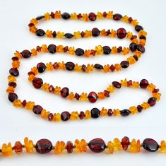 925 sterling silver 54.13cts natural baltic amber (poland) beads necklace c3285