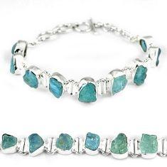 Natural aqua aquamarine rough fancy 925 sterling silver beads jewelry k17170