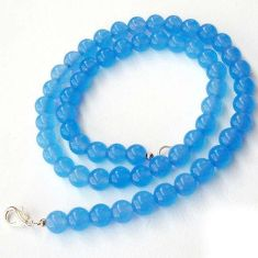 AMAZING NATURAL BLUE CHALCEDONY 925 SILVER NECKLACE ROUND BEADS JEWELRY H20439