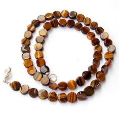 AMAZING NATURAL BROWN TIGERS EYE 925 SILVER NECKLACE COIN BEADS JEWELRY H20366