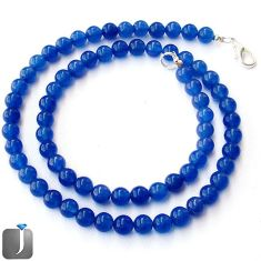 ATTRACTIVE NATURAL BLUE JADE 925 SILVER NECKLACE ROUND BEADS JEWELRY G48811
