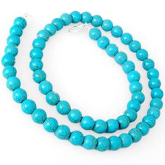 BLUE TURQUOISE 925 SILVER NECKLACE ROUND BEADS JEWELRY H8994