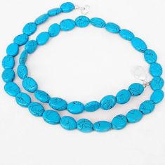 BLUE TURQUOISE OVAL SHAPE 925 SILVER NECKLACE BEADS JEWELRY H8979