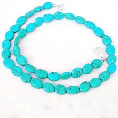 BLUE TURQUOISE OVAL SHAPE 925 SILVER NECKLACE BEADS JEWELRY H8999