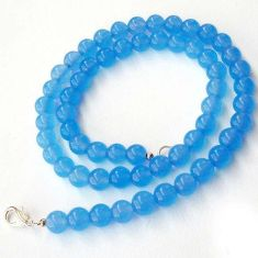 CHARMING NATURAL BLUE CHALCEDONY 925 SILVER NECKLACE ROUND BEADS JEWELRY H20437