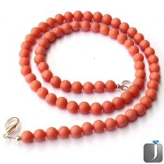 77.21cts CHARMING PINK CORAL ROUND 925 SILVER NECKLACE BEADS JEWELRY G8952