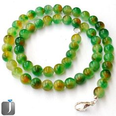 CLASSIC NATURAL GREEN CHRYSOPRASE 925 SILVER ROUND BEADS NECKLACE JEWELRY F96972