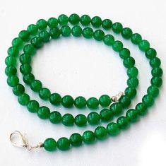 DAZZLING NATURAL GREEN JADE ROUND 925 SILVER NECKLACE BEADS JEWELRY H20374
