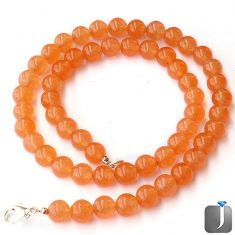 EXOTIC NATURAL ORANGE CARNELIAN ROUND 925 SILVER NECKLACE BEADS JEWELRY G48853