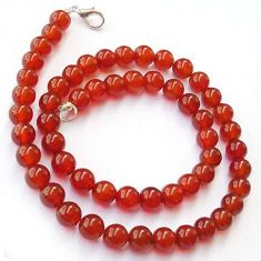 FASHIONABLE NATURAL HONEY ONYX 925 SILVER NECKLACE ROUND BEADS JEWELRY H20424