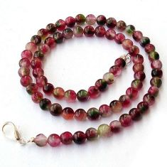 GALLANT NATURAL MULTICOLOR FLUORITE 925 SILVER NECKLACE BEADS JEWELRY H20377
