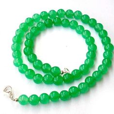 GLITTERING NATURAL GREEN JADE 925 SILVER NECKLACE ROUND BEADS JEWELRY H20430