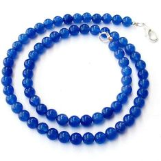 GORGEOUS NATURAL BLUE JADE ROUND 925 SILVER NECKLACE BEADS JEWELRY H20492